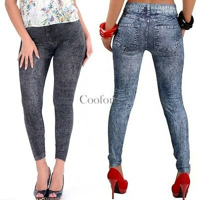 Women Skinny Pants Jeggings Stretchy Slim Leggings Jeans Pencil Tight Trousers A