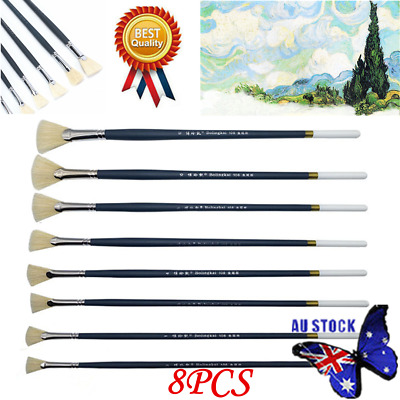 9PCS Assorted Wooden Handle Artist Nylon Hair Fan Brushes Oil Acrylic Watercolor