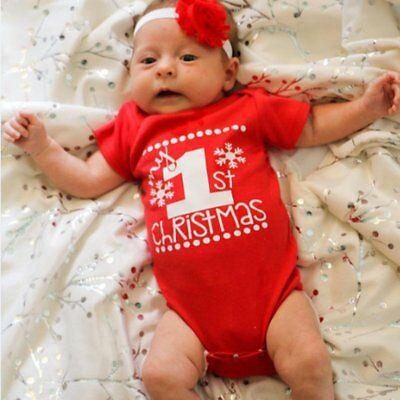 My 1st Christmas Clothes Newborn Baby Boy Girls Cotton Romper