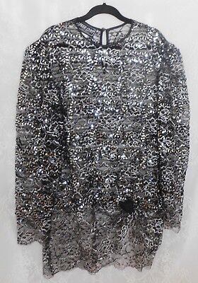 Size 20 lace and sequin top, vintage 1980s