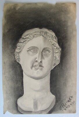 Antique 1910 Charcoal Art Signed Dated Woman's Bust Drawing Artist Rita Poorman