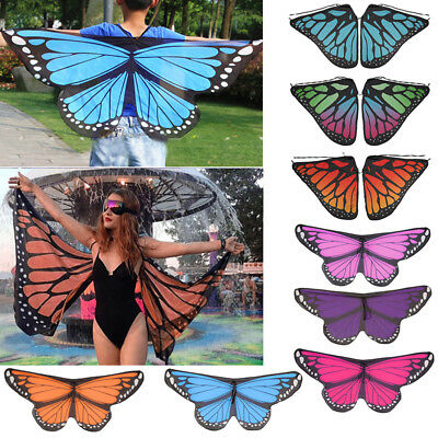 AU Soft Fabric Butterfly Wings Shawl Fairy Ladies Nymph Pixie Costume Accessory
