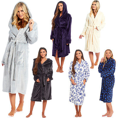 Ladies Womens Coral Polar Fleece Dressing Gown Bath Robe Night Wear House Coat
