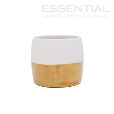Ceramic Candle Jar 2 tone Ivory/Gold - 400ml x36