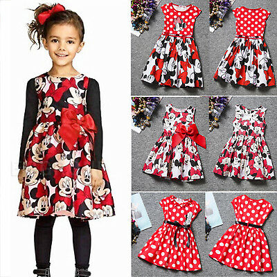Toddler Kid Baby Girls Minnie Mouse Print Sundress Summer Skirt Clothes Size2-7Y