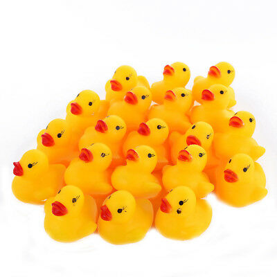 Cute 1/20pcs Mini Yellow Rubber Race Squeaky Bathing Duck Ducky Baby Toys