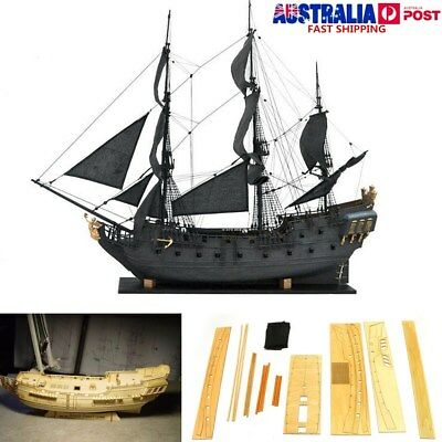 Scale 1: 96 3D Wooden Sailboat Black Pearl Ship Home Model Decoration Boat Gift