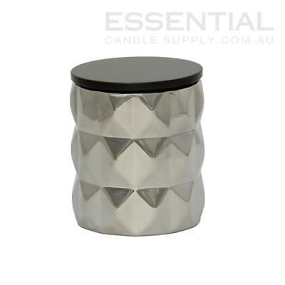 Silver Geo Ceramic Candle Jar - 300ml x6