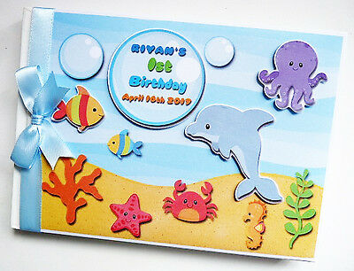 Ocean / Sea Animals Boy/girl /first/1St Birthday Guest Book - Any Design