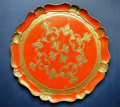 Vintage Italian Tole Florentine Serving Tray - Orange & Gold