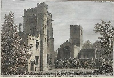 1819 Antique Print; Stanton Harcourt, near Witney, Oxfordshire by Buckler