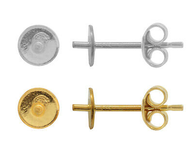 Sterling Silver Stud Posts with Pin for Gluing 5817 Cabochon Pearls * Many Sizes