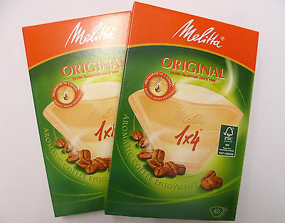 Twin Pack Of Genuine Melitta  1 X 4  40 Coffee Filters 4 Cup Coffee Making