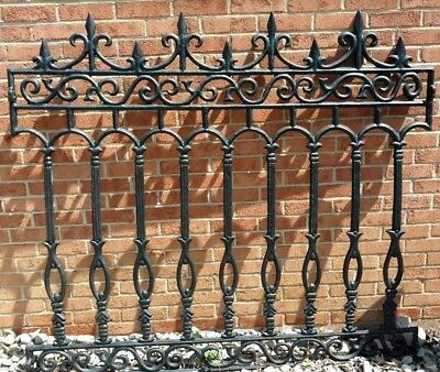 Antique Architectural Salvage Cast Iron Ornate Fence Garden Art