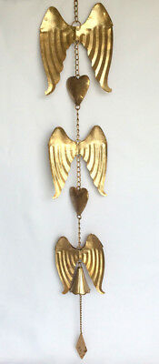 Angel Wings with Hearts & Bell Hanging Chimes Memorial