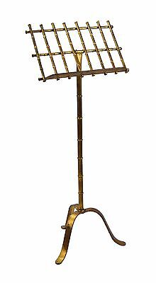Vintage Regency Style Gilt Metal Faux Bamboo Sheet Music Stand