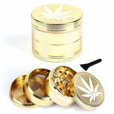 METAL GOLD GRASSLEAF 50mm HERB GRINDER MAGNETIC 4 PART POLLINATOR