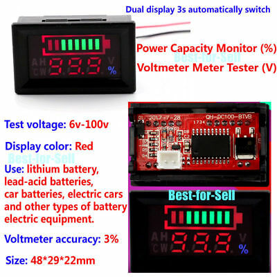 6-100V LCD Acid Lead Lithium Battery Capacity Indicator Voltage Voltmeter Tester