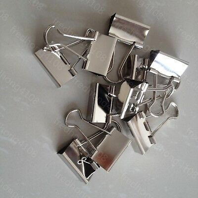10pcs Silver Metal Binder Clip Paper Clips For Office School 32mm