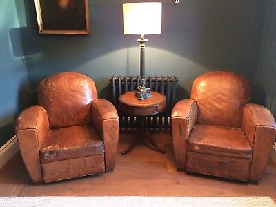 Leather club chairs (pair)