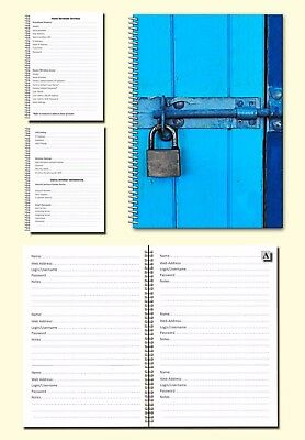 Internet Password Organiser A5 Book, Cover image blue door with padlock, Gift