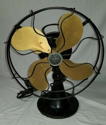"""Emerson 12 """" brass blade 3 speed Osculating electric fan type 29646 Vintage"""
