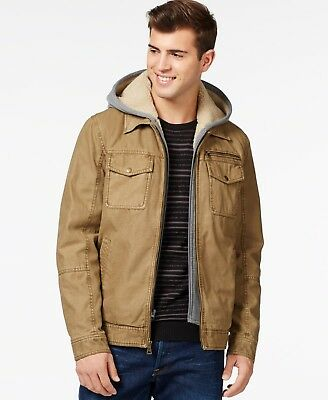 $265 NEW GUESS Mens BEIGE 100% COTTON HOODED FULL ZIP JACKET WINTER COAT SIZE XL