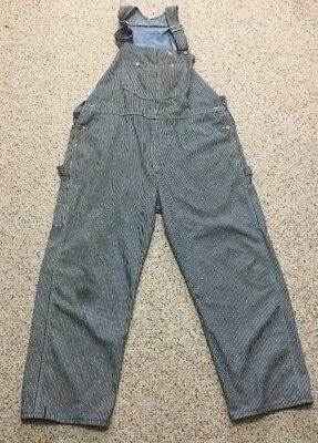 Vtg Sears Toughskins Hickory Stripe Overalls 44/46 Waist 28 Inseam Railroad