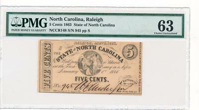 Obsolete State of North Carolina Raleigh 5 cents 1863 Cr NC-148 PMG 63