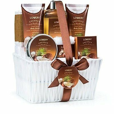 Home Spa Gift Basket - Milky Coconut Fragrance -  Luxurious Bath & Body Set