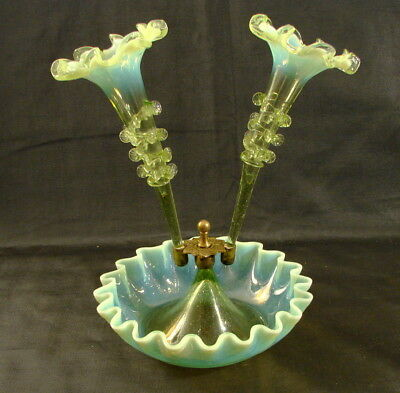 Antique Vaseline/ Uranium Glass Epergne of a Diminutive Size