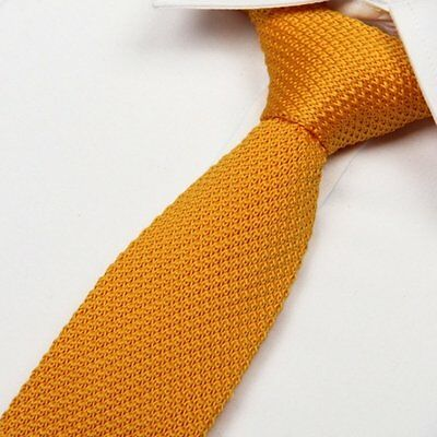 Men's Tie -Golden Yellow - Knit Knitted - Necktie Narrow Slim Skinny- Brand New
