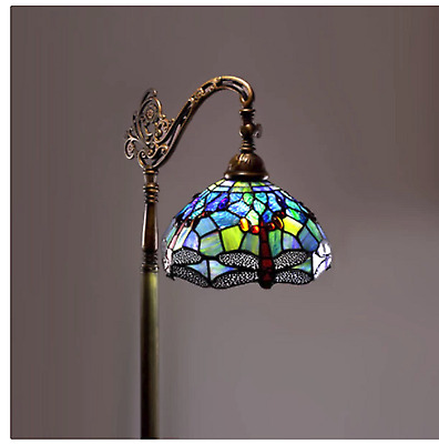 Tiffany Style Dragonfly Reading Floor Lamp Light Stained Glass Vintage Look