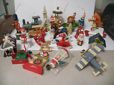 Lot of 25 Vintage Wood/Wooden Christmas Tree Ornaments - Schmid, Taiwan, Roman+
