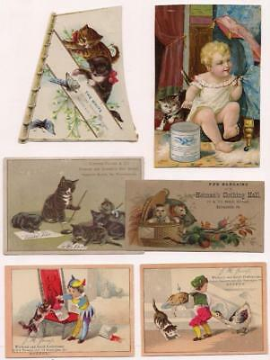 6 Victorian Trade Cards~1880's~CATS~Advertising Borden~Jessop~Heiman etc VG