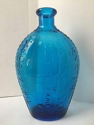 """VTG BLUE BOTTLE  RIVERBOAT STEAMBOAT """"THE AMERICAN SYSTEM""""  9"""" Tall"""