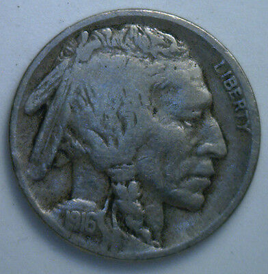 1916 D Buffalo Nickel 5 cent US United States Coin VG2