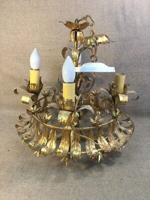Antique Italian Mid Century Gilt Metal Tole Chandiler
