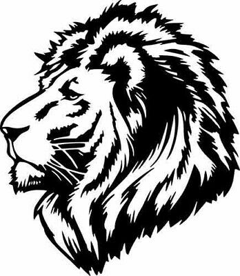 Lion Head Profile Wild Animal Jungle Wall Car Window Truck Vinyl Sticker Decal