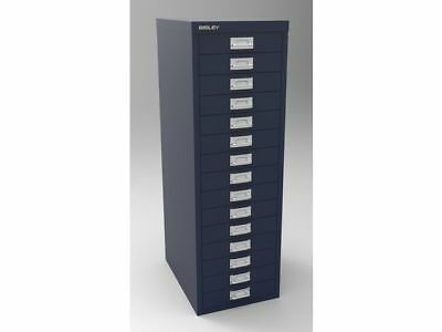 PRUSSIAN BLUE 15 MULTI DRAWER 'BISLEY' FILING CABINET - NEW 860H x 279W x 380Dmm