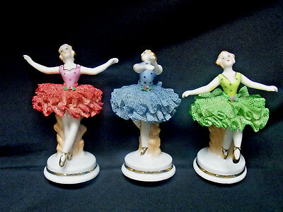 Lot of 3  Vintage Occupied Japan Dancing Ballerinas With Lace Skirts - Kouwa