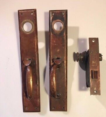 Vintage Solid Brass Russwin Door Pulls With Lock