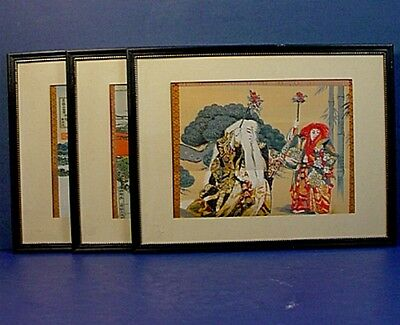Three Vintage Japanese Silk Embriodery Woodblock Print Style Panels