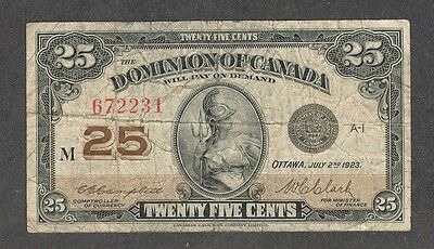 1923 Twenty-Five Cents DC-24d VG * Scarce OLD Dominion of Canada 25¢ Shinplaster
