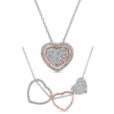 Amour 1/5ct TDW Diamond Triple Heart Generations Necklace in Gift Box for Mom