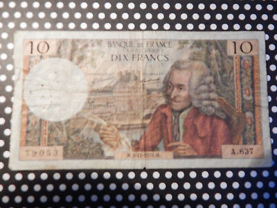 French Currency 1970 10 Franc Note / Voltaire