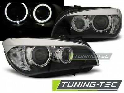 Coppia Fari Fanali Tuning Anteriori BMW X1 E84 2009-2012 Angel Eyes LED Neri H7