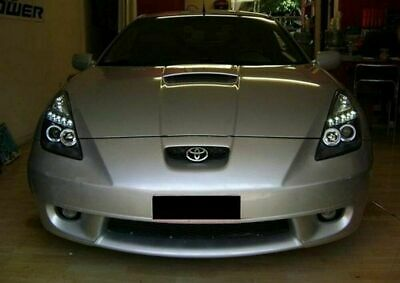 Coppia Set Fari Fanali Anteriori Tuning TOYOTA CELICA T23 99-05 ANGEL EYES Nero