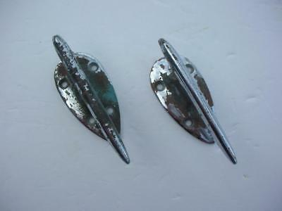"""2 Vintage 4"""" Chrome Plated Brass Streamlined Cleats 1950s Chris Craft?"""