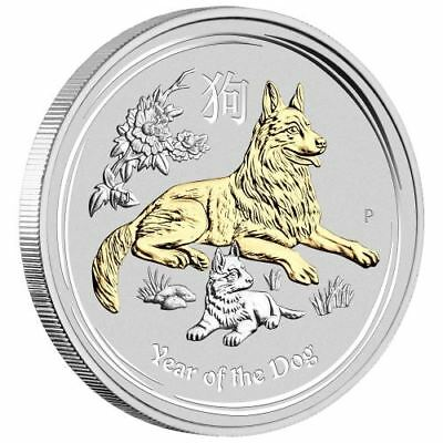 2018 Australia Lunar Year of the Dog GILDED 1oz SIlver $1 Coin w/ OGP Box Gilt